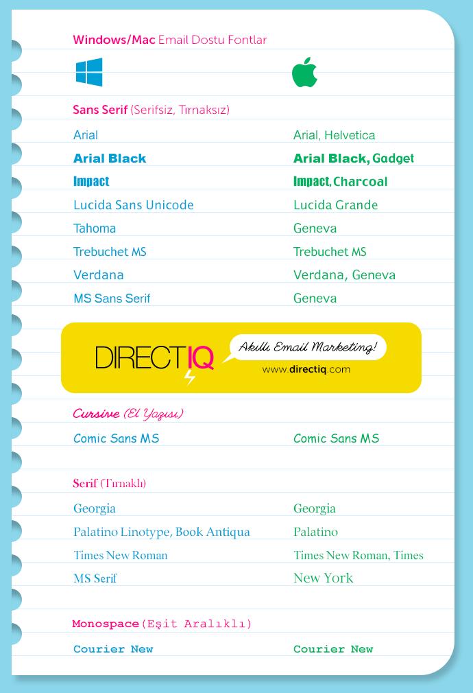 Windows/Mac Email Dostu Fontlar